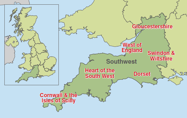 Map Of The South West Of England.Southwest England Tradeinvest Britishamerican Business